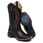 Bota Texana Feminina Bico Quadrado Laser Couro Floater Preto