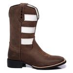 Bota Texana Masculina Bico Quadrado Couro Fóssil Café Boots