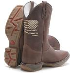 Bota Texana Masculina Bico Quadrado WorkBoot Couro Crazy Horse Café