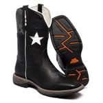 Bota Texana Masculina Bico Quadrado WorkBoot Couro Legítimo Preto