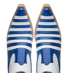 Botina Country Masculina Couro Casco de Tatu Anaconda PB Azul e Floater Branco