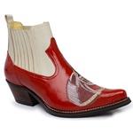 Botina Country Masculina Couro Verniz Vermelho e Floater Marfim