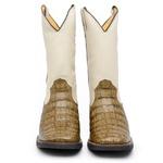 Bota Country Masculina Exótica Bico Quadrado Jacaré Musgo e Floater Marfim Promoção