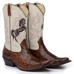 Bota Country Masculina Texana Exótica Píton Tabaco e Floater Marfim