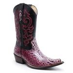 Bota Country Texana Bico Fino Réplica Píton Rosa e Mustang Preto
