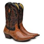 Bota Country Texana Masculina Bico Fino Anaconda Conhaque e Mustang Preto