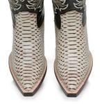 Bota Country Texana Masculina Bico Fino Anaconda Euro Marfim e Mustang Preto