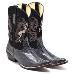Bota Country Texana Masculina Bico Fino Anaconda PB Grafite e Nobuck Preto Promoção