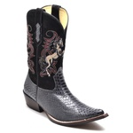 Bota Country Texana Masculina Bico Fino Anaconda PB Grafite e Nobuck Preto