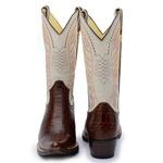 Bota Country Texana Masculina Bico Fino Couro Anaconda Nescau e Floater Marfim