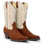 Bota Country Texana Masculina Bico Fino Couro Nobuck Castor Platinado e Floater Marfim