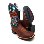 Bota Country Texana Masculina Bico Quadrado Índio Couro Café e Preto