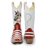 Bota Country Texana Masculina Casco de Tatu Couro Verniz Vermelho e Branco