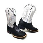 Bota Masculina Texana Bico Quadrado Couro Tela Preto e Floater Branco