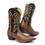 Bota Texana Bico Fino Country Masculina Couro Trilha Café e Floater Preto