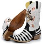 Bota Texana Masculina Bico Fino Casco de Tatu Couro Verniz Gloss e Branco