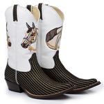 Bota Texana Masculina Bico Fino Couro Nobuck Platinado e Verniz Branco