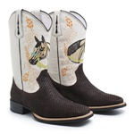 Bota Texana Masculina Bico Quadrado Couro Tela Café e Floater Marfim Bordado Cavalo