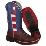 Bota Texana Masculina Bico Quadrado EUA Couro Legítimo