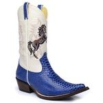 Bota Country Masculina Bico Fino Texana Anaconda Azul e Marfim