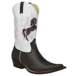 Bota Country Masculina Bico Fino Texana Platinado e Branco