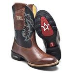 Bota Texana Masculina Bico Redondo Couro Látego Havana e Preto