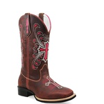 Bota Country Texana Feminina Bico Quadrado Couro Sela Bordado Cruz