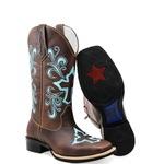 Bota Country Texana Feminina Bico Quadrado Couro Tabaco Bordado Cruz Azul