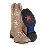 Bota Texana Feminina Bico Quadrado Couro Mármore