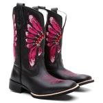 Bota Feminina Texana Bico Quadrado Couro Preto Cocar Rosa