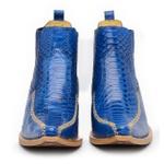 Botina Bico Fino Masculina Couro Anaconda PB Azul Solado Natural