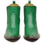Botina Bico Fino Masculina Couro Anaconda Verde