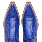 Botina Bico Fino Masculina Couro Jacaré Dubai Azul