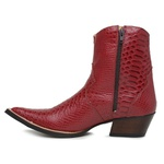 Botina Country Masculina Bico Fino Couro Anaconda Dark Red