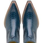 Botina Country Masculina Bico Fino Couro Anaconda Metalizado Azul