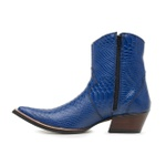 Botina Country Masculina Bico Fino Couro Anaconda PB Azul