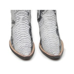 Botina Country Masculina Bico Fino Couro Anaconda PB Branco e Preto