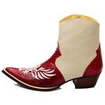 Botina Country Masculina Bico Fino Couro Anaconda Vermelho e Floater Marfim