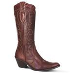 Bota Country Texana Feminina Couro Mustang Pinhão