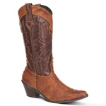 Bota Country Texana Feminina Escamada Couro Latego Tan e Mustang Pinhão