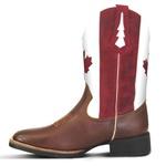 Bota Country Texana Masculina Canadá Couro Atlanta Havana Branco e Vermelho