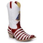 Bota Country Masculina Texana Bico Fino Caco de Tatu Couro Verniz Vermelho e Verniz Branco