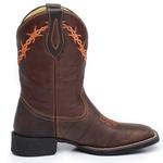 Bota Country Masculina Texana JM Country Couro Pit Stop Café e Mustang Pinhão