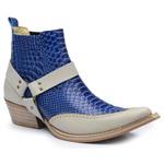 Botina Country Masculina Com Bridao Couro Anaconda PB Azul e Floater Marfim