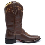 Bota Country Masculina Texana JM Country Couro Pull-up Brown