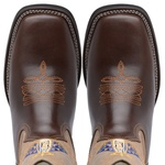 Bota Country Masculina Texana JM Country Couro Pull-up Brown e Fossil Marmore