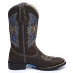 Bota Country Masculina Texana JM Country Couro Crazy Horse Chocolate e Napa Rio Azul
