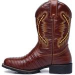 Bota Country Texana Masculina Casco de Tatu Couro Mustang Pinhão