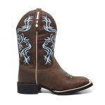 Bota Bico Quadrado Feminina Texana Couro Crazy Horse Café