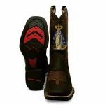 Bota Texana Feminina Bico Quadrado Couro Crazy Horse Café